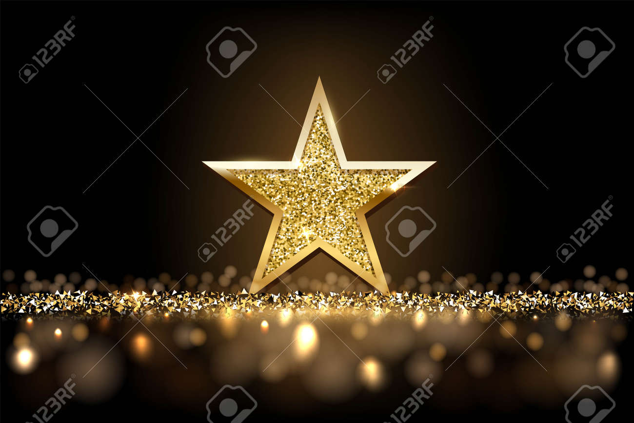Gold glitter star with golden frame on dark sparkling background with fog. Christmas ornament shiny emblem vector illustration. Bright creative abstract decoration element for celebration - 167021254