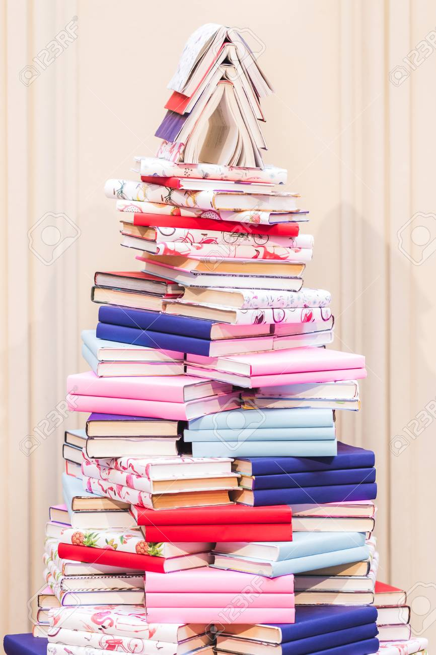 Stock Photo   Unusual Christmas Tree From The Pile Of Books