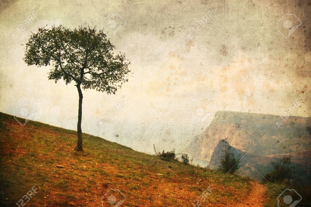 Lonely Tree In Aged Textured Art Background Depression And