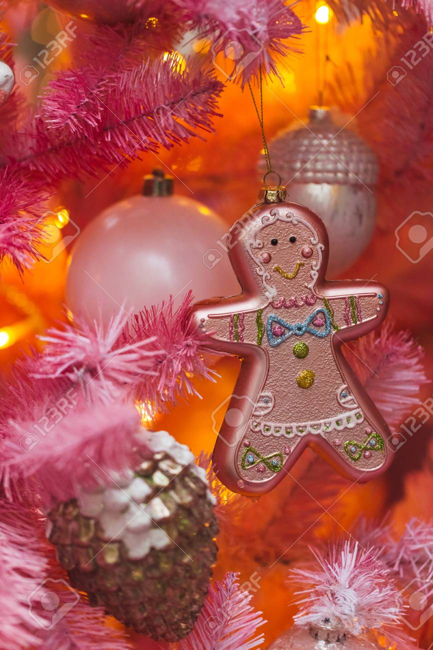 Pink Artificial Christmas Tree.Unusual Artificial Christmas Tree Decoration On Pink Fir Branches