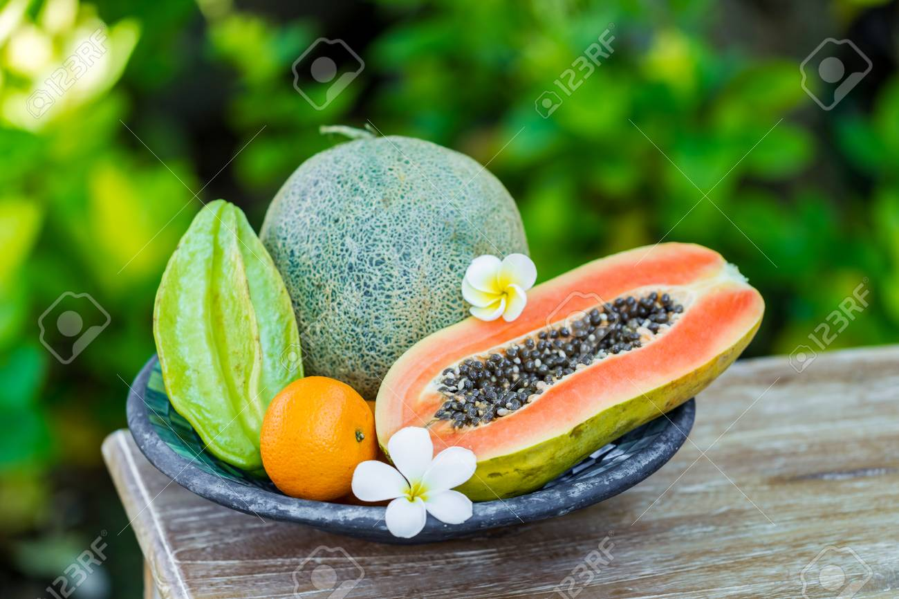 Fruit Plate With Fresh Bali Fruits Papaya Orange Melon And Stock