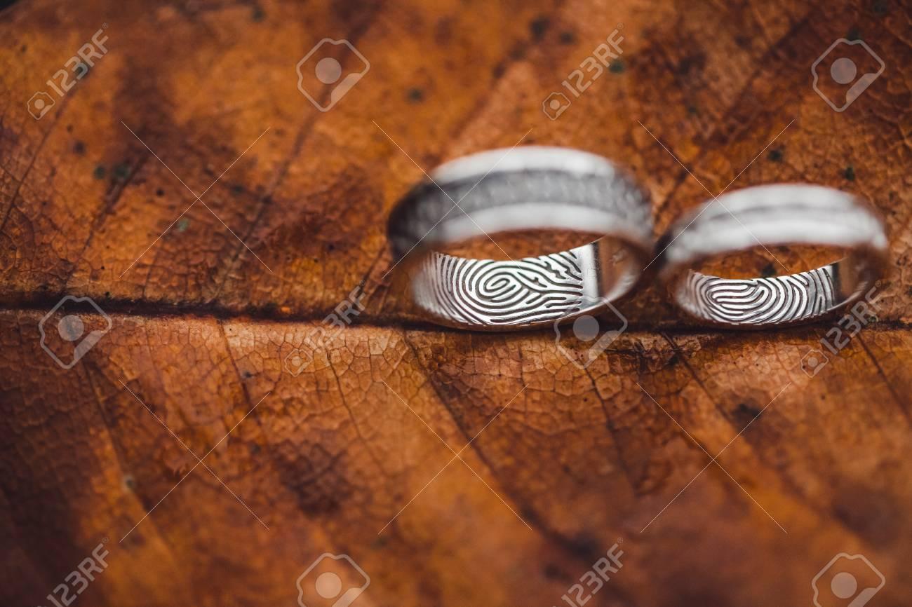 Wedding rings with fingerprints close-up on wet brown autumn leaf skeleton texture - 106840979
