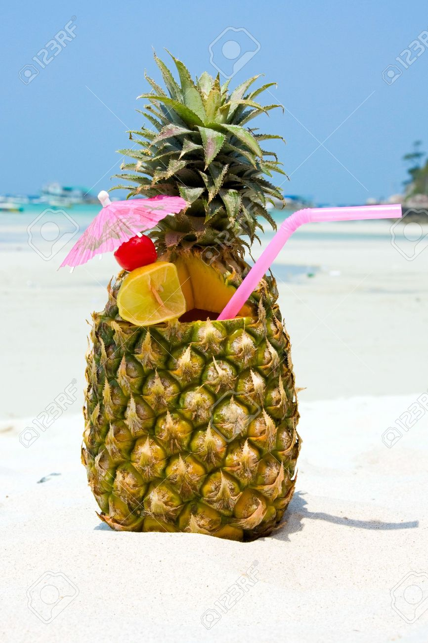 Tropical pineapple cocktail Stock Photo - 9200712