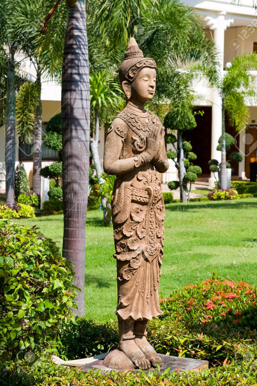 Buddha Statue In Zen Garden Environment In Thailand . Stock Photo   68080027