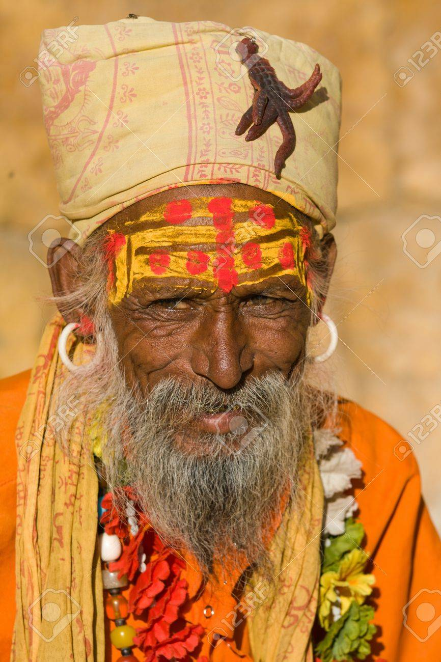 Indian sadhu (holy man). Jaisalmer, Rajasthan, India. Stock Photo - 16976435