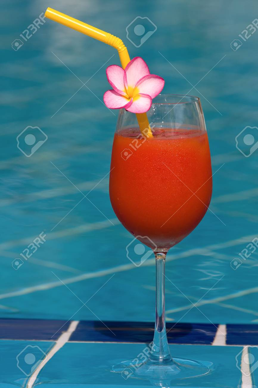 Tomato juice at the swimming pool Stock Photo - 17009925