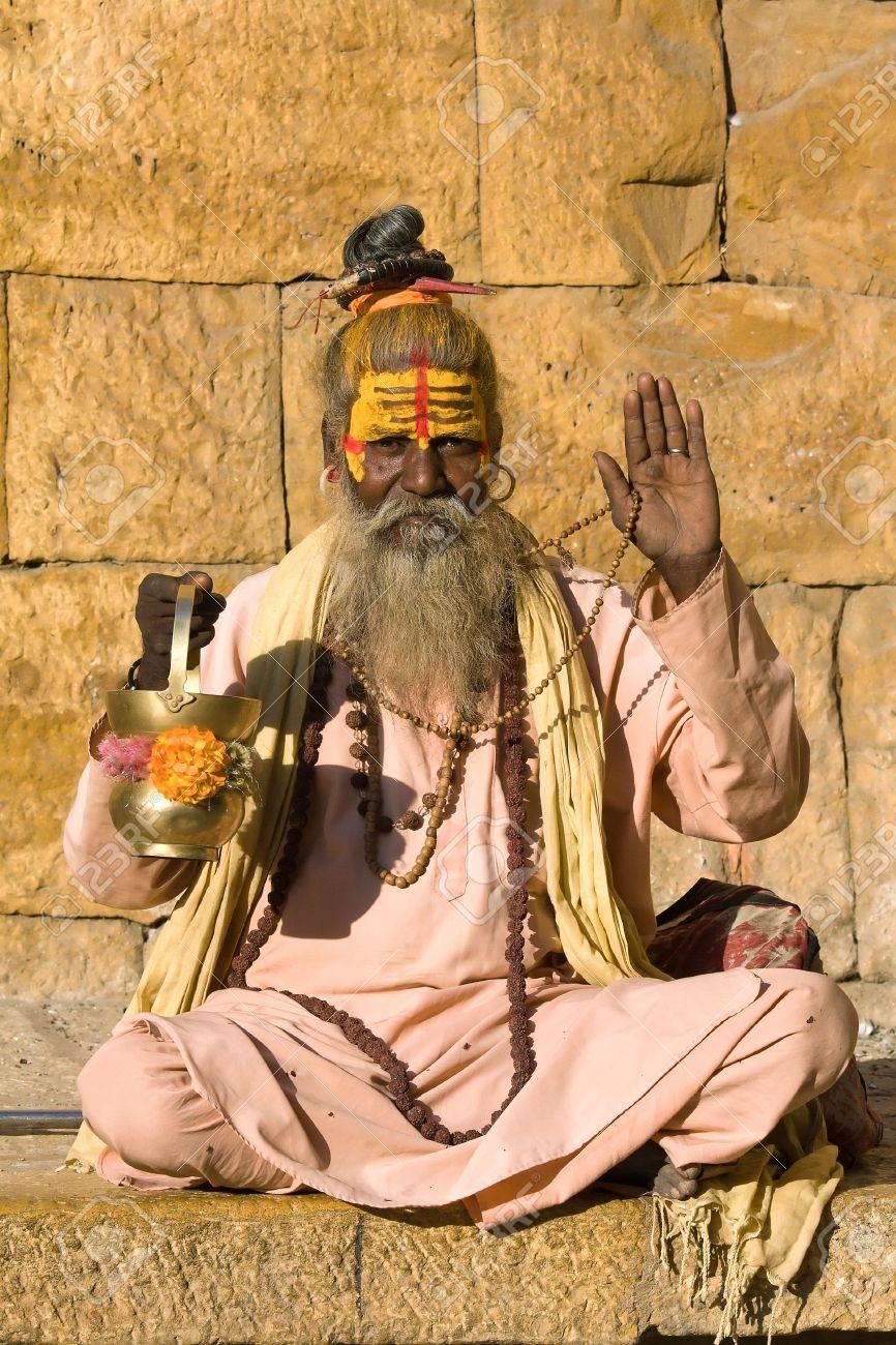 Indian sadhu (holy man). Jaisalmer, Rajasthan, India. Stock Photo - 18572813