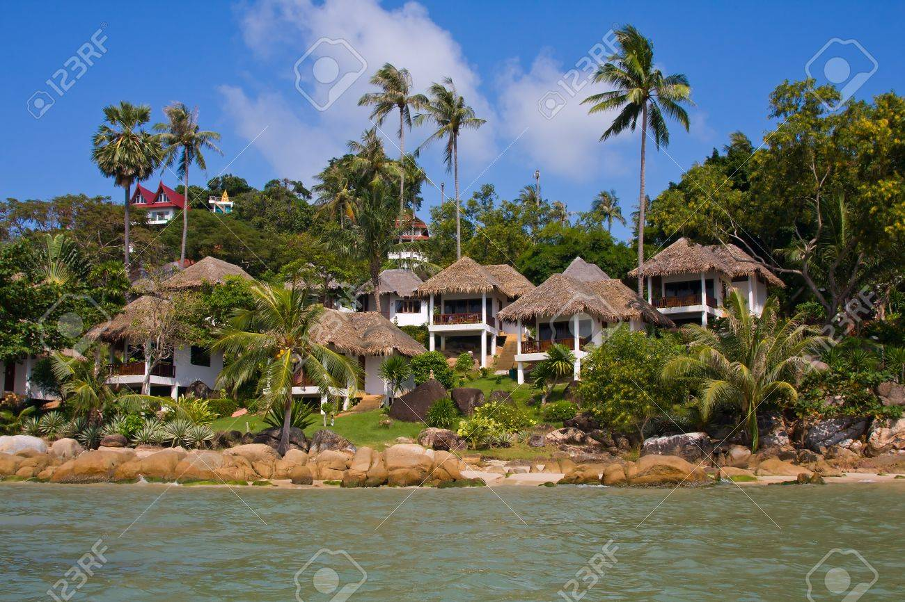 tropical houses with beautiful sea view , thailand stock photo