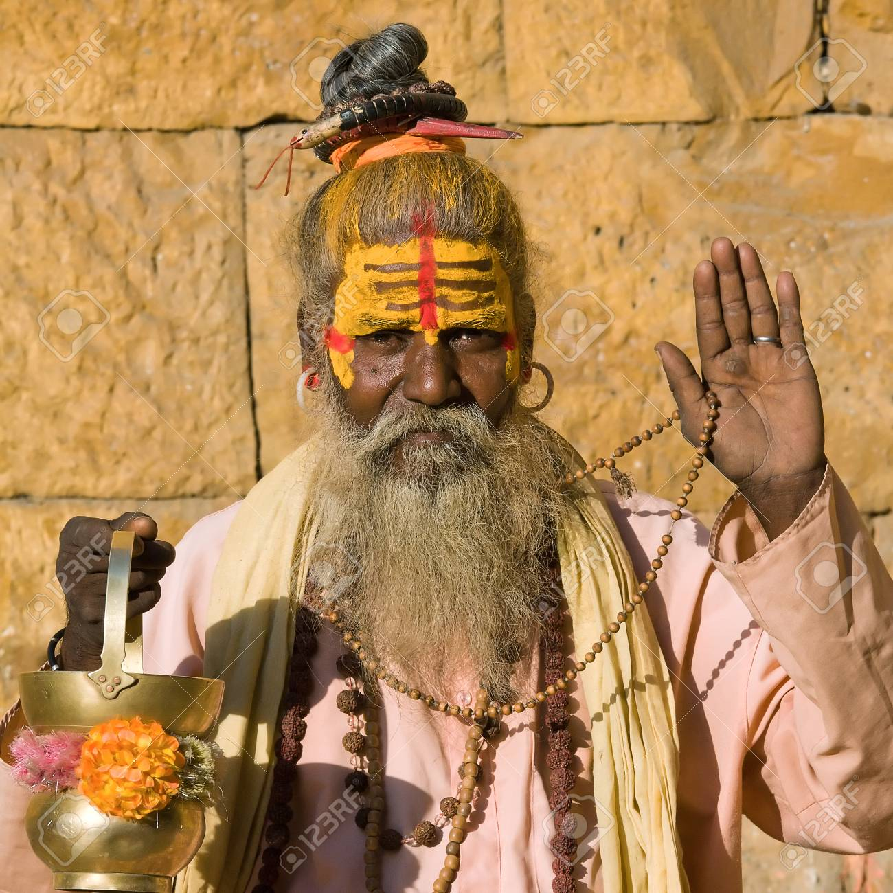 Indian sadhu (holy man). Jaisalmer, Rajasthan, India. Stock Photo - 29125445