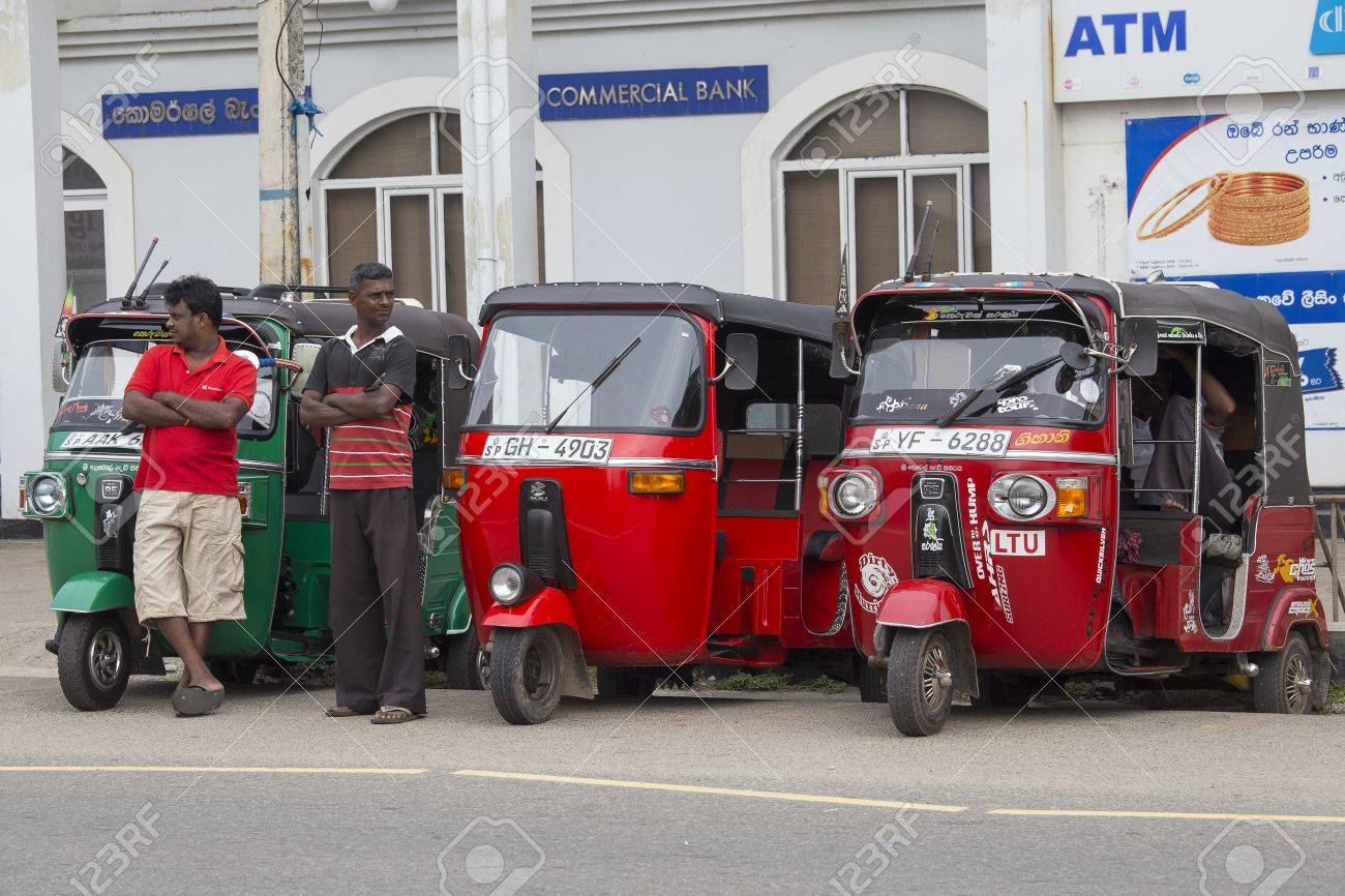 hikkaduwa, sri lanka - november 11, 2014: auto rickshaw or tuk-tuk