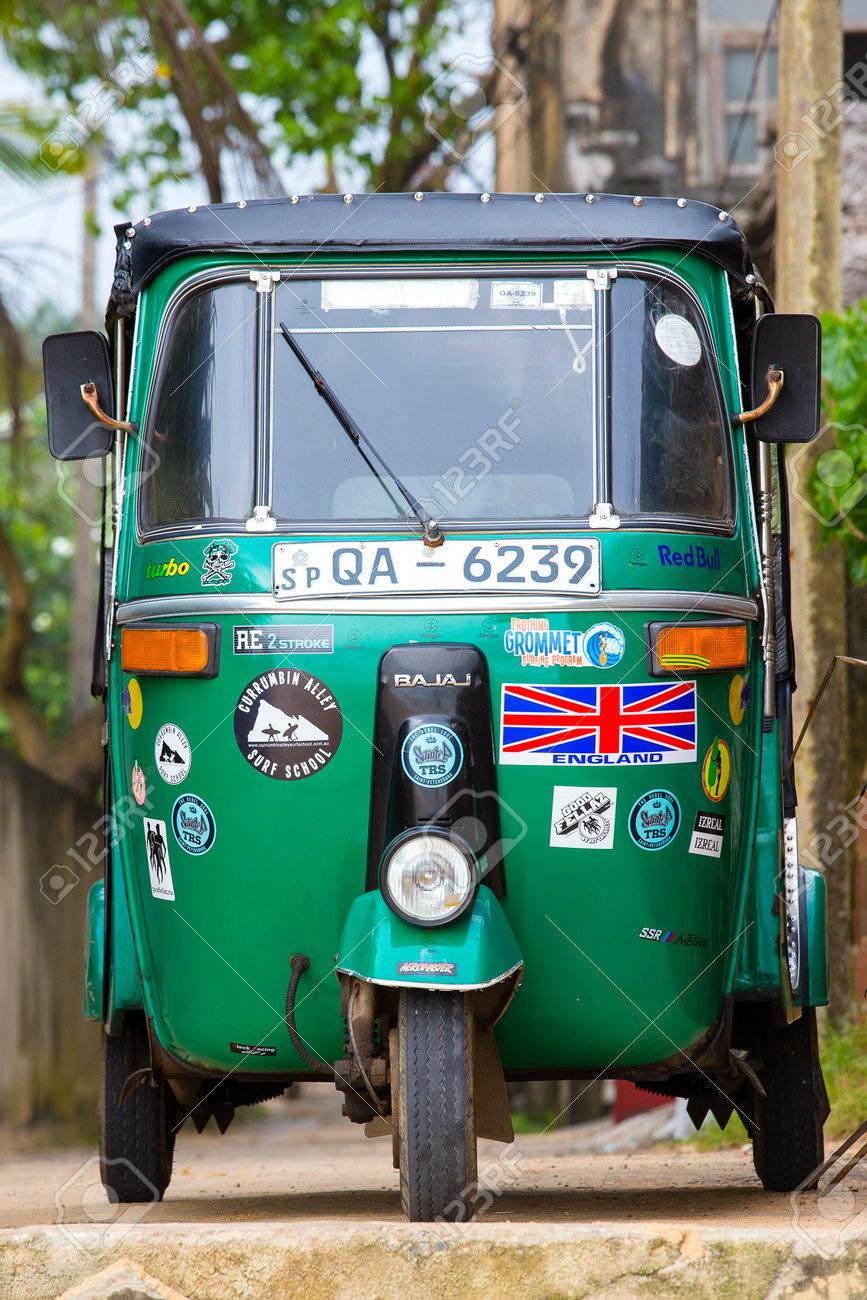 MIRISSA, SRI LANKA - NOVEMBER 11, 2014: Auto rickshaw or tuk-tuk