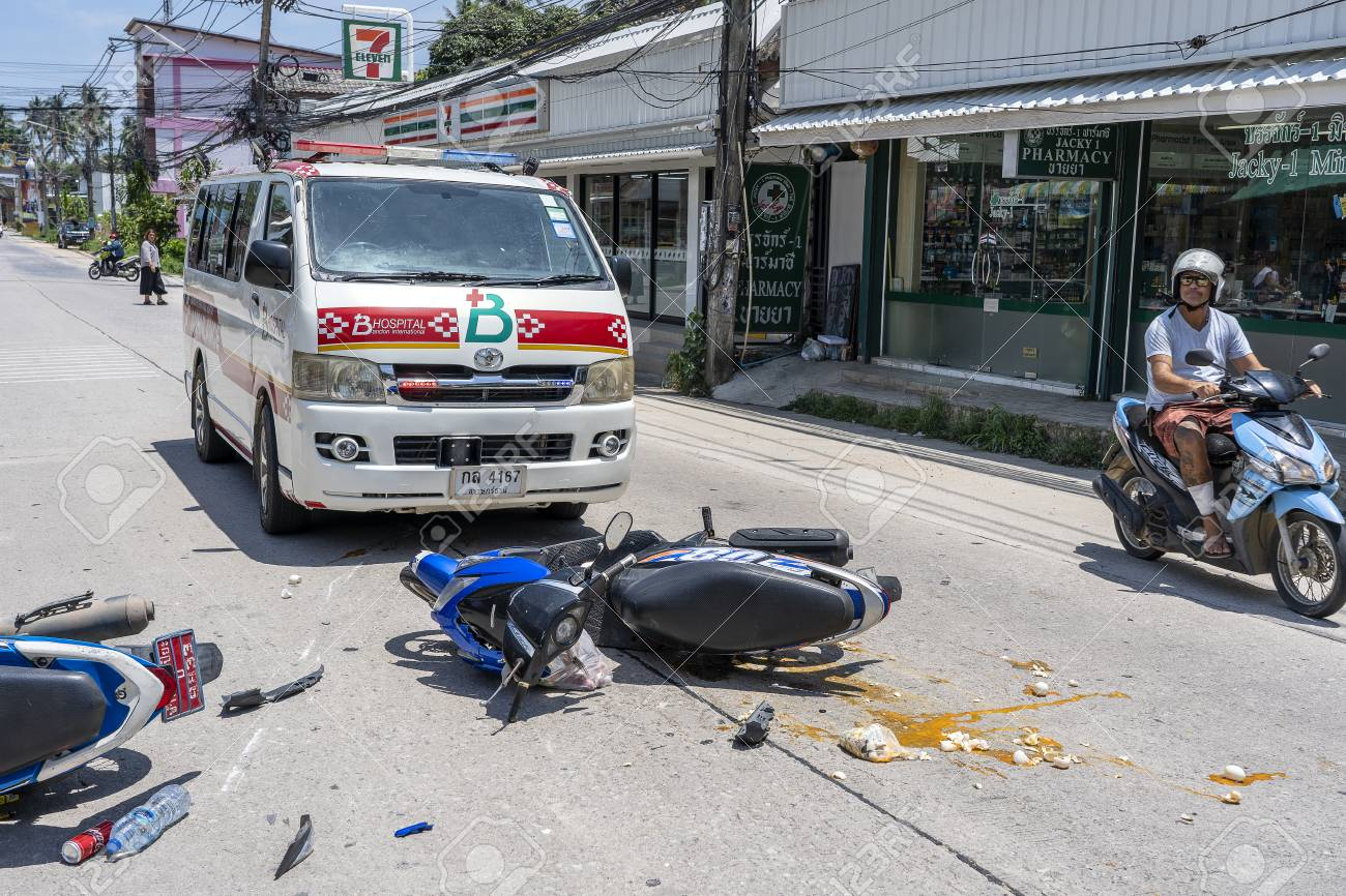 KOH PHANGAN, THAILAND - MAY 19, 2019 : Motorcycle accident that