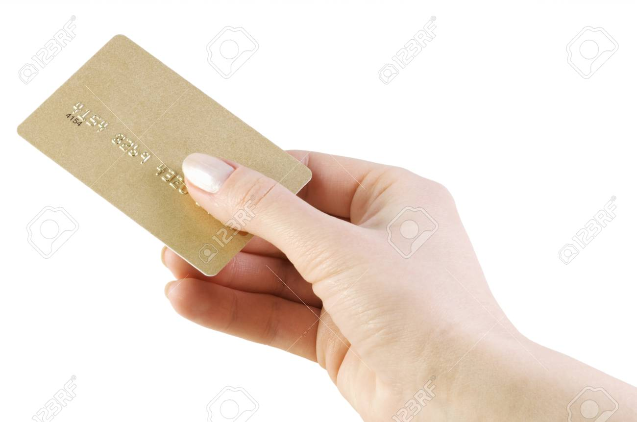 credit card in hand isolated on white background Stock Photo - 10889147