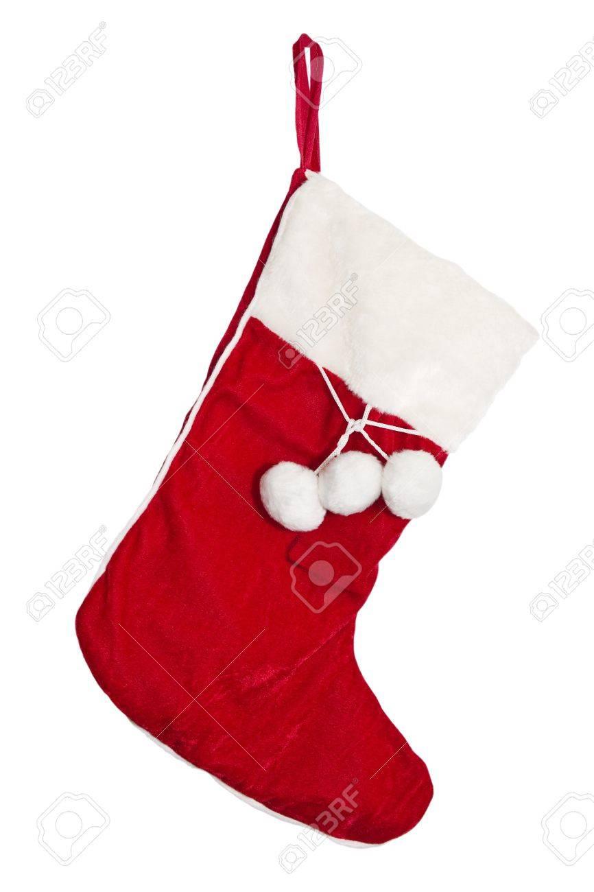 Christmas Stockings On The Mantel Isolated On White Stock Photo ...