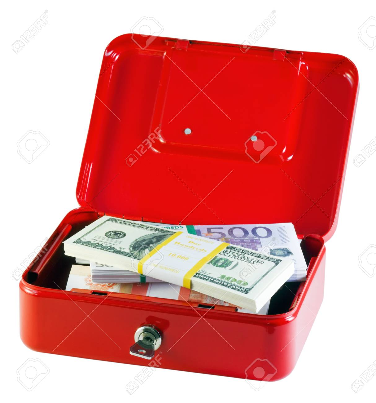 metal box with bundles of money isolated on white Stock Photo - 11484726