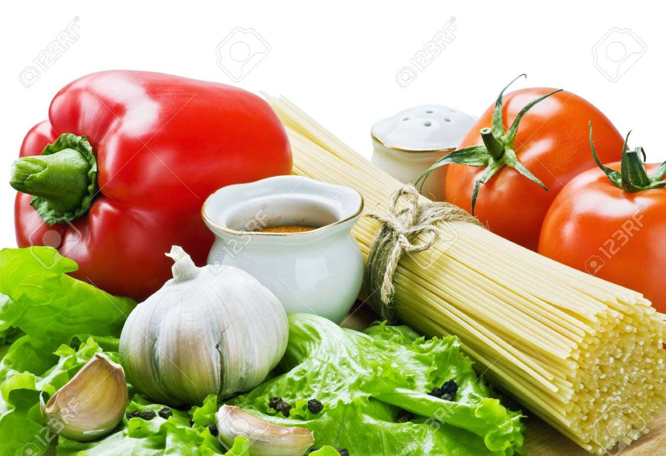 spaghetti and fresh vegetables are isolated on a white background Stock Photo - 11737786