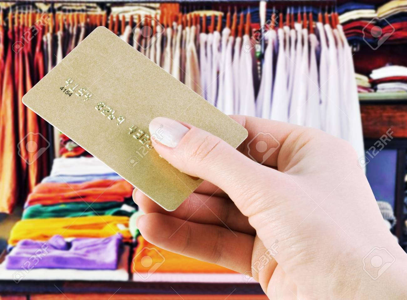 Purchase In A Clothing Store Credit Card Stock Photo Picture And
