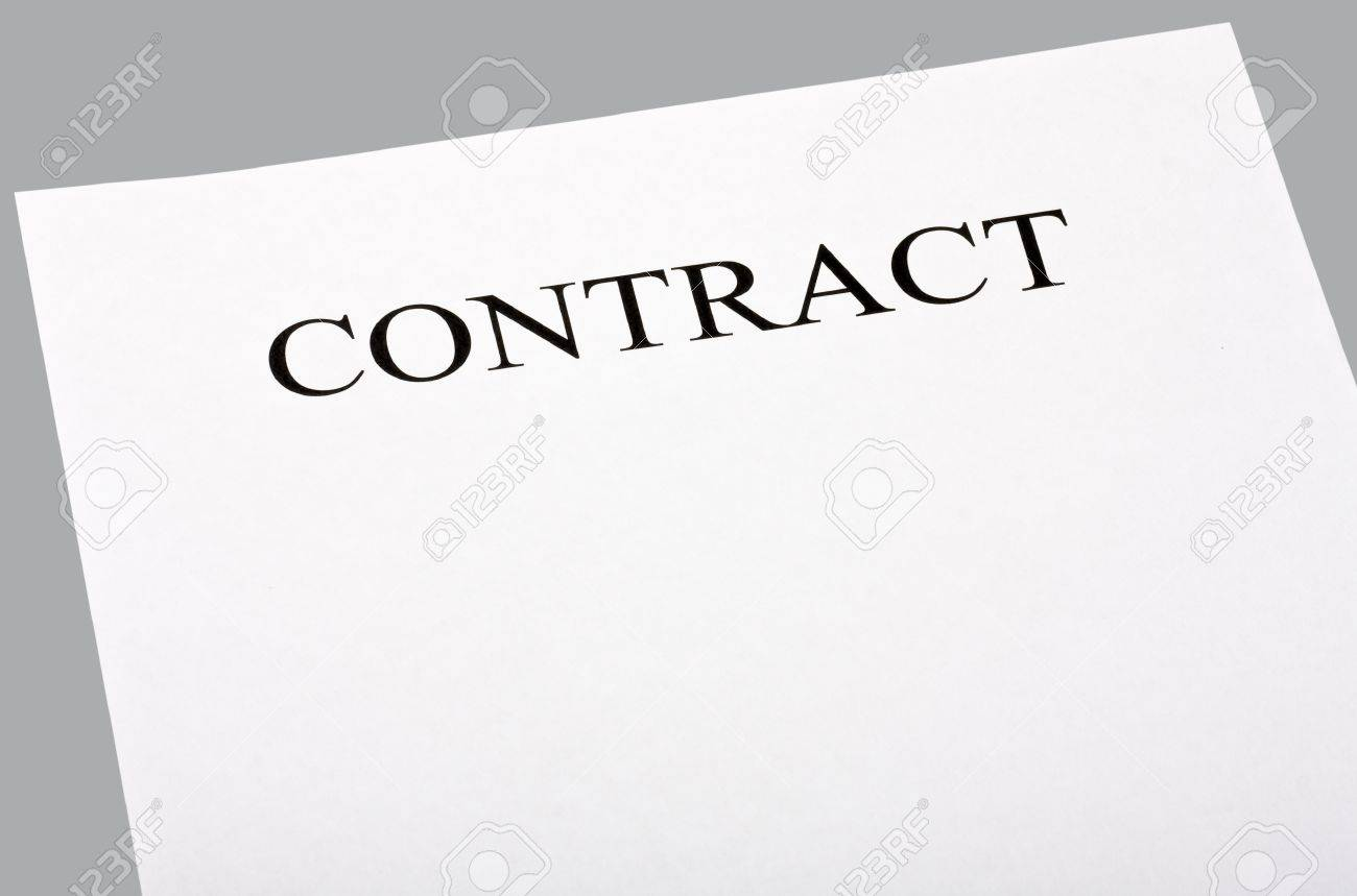 Blank Contract Isolated On Gray Background Stock Photo, Picture And ...