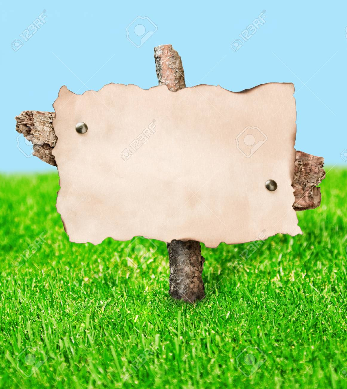 blank billboard stands in a field on a background of grass and sky Stock Photo - 13907530