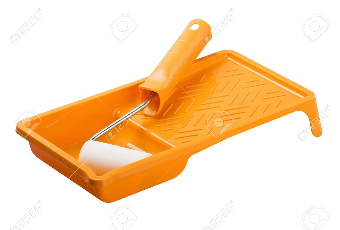 Paint roller with tray isolated on white close-up Stock Photo - 14554862