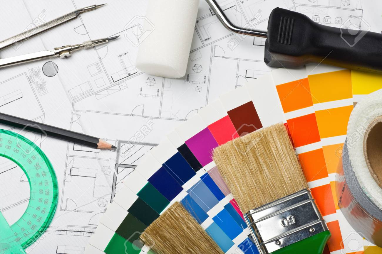paints and paint repair on the architectural plan Stock Photo - 15261726