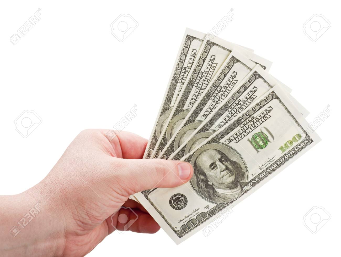 dollars in the man's hand isolated on white background Stock Photo - 15640352
