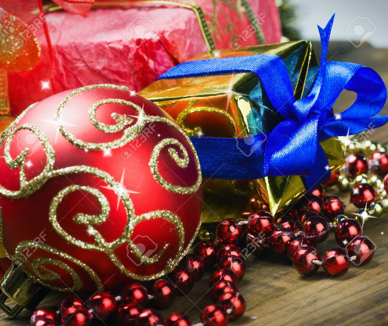 decorations for Christmas and New Year's balls and gifts on the table Stock Photo - 15988784