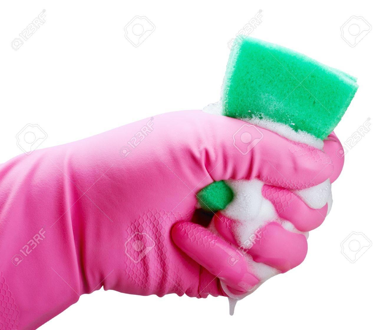 Hand holding white cleaning sponge isolated on white Stock Photo - 19683429
