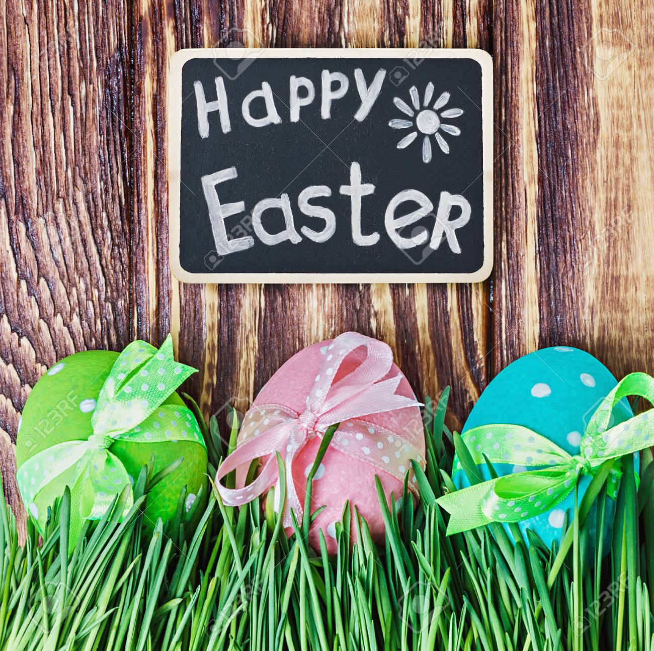 Easter Eggs And The Easter Holiday Greetings Stock Photo Picture