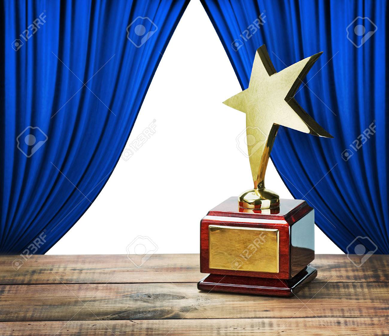Star Award And Blue Curtains With Space For Text On White Background Stock Photo