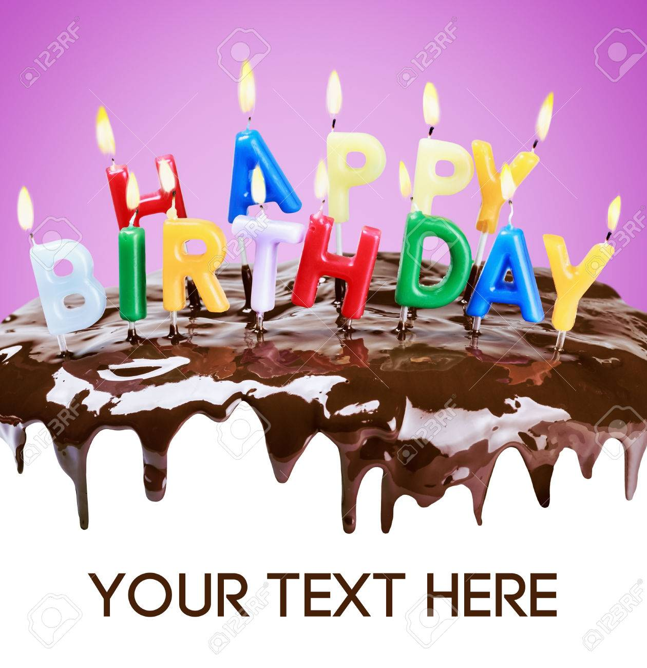 Lighted Candles On A Birthday Cake Bottom White Space For Text