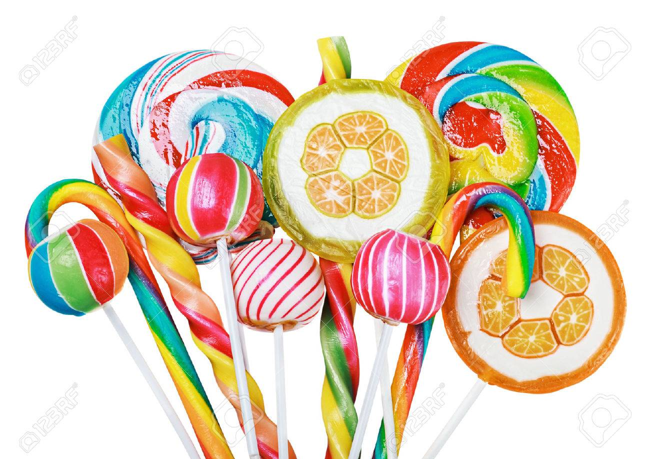 Colorful candies and lollipops isolated on white background - 31063182