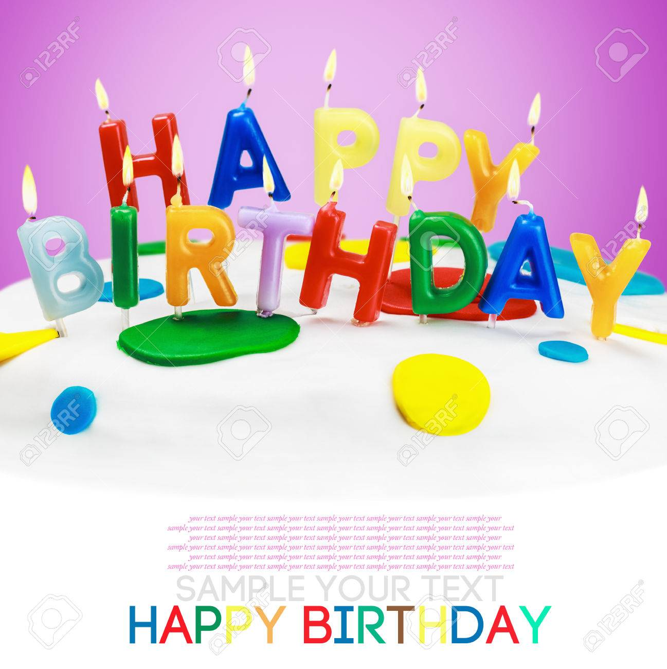 Lighted Candles On A Birthday Cake Bottom White Space For Text Or Congratulations