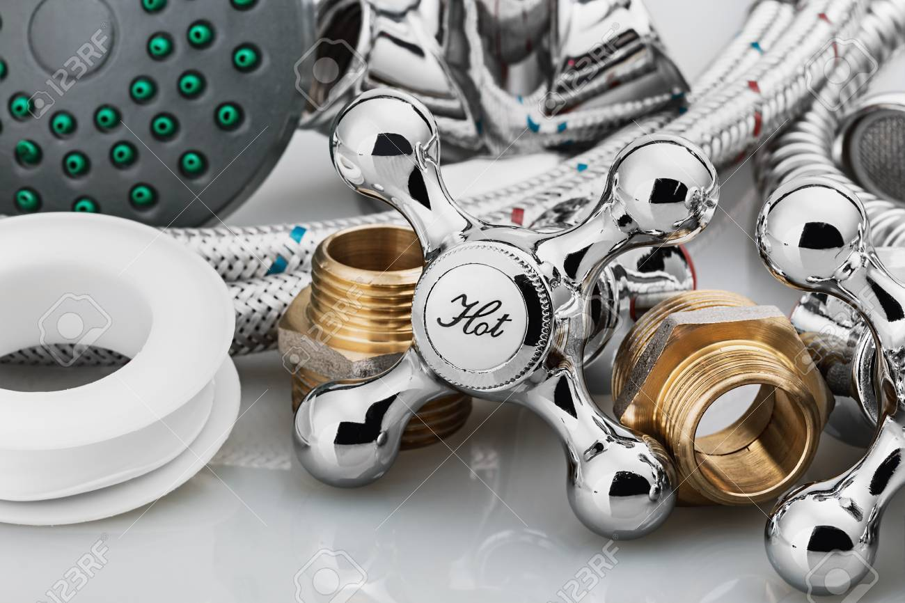 plumbing and tools on a light background - 33215118