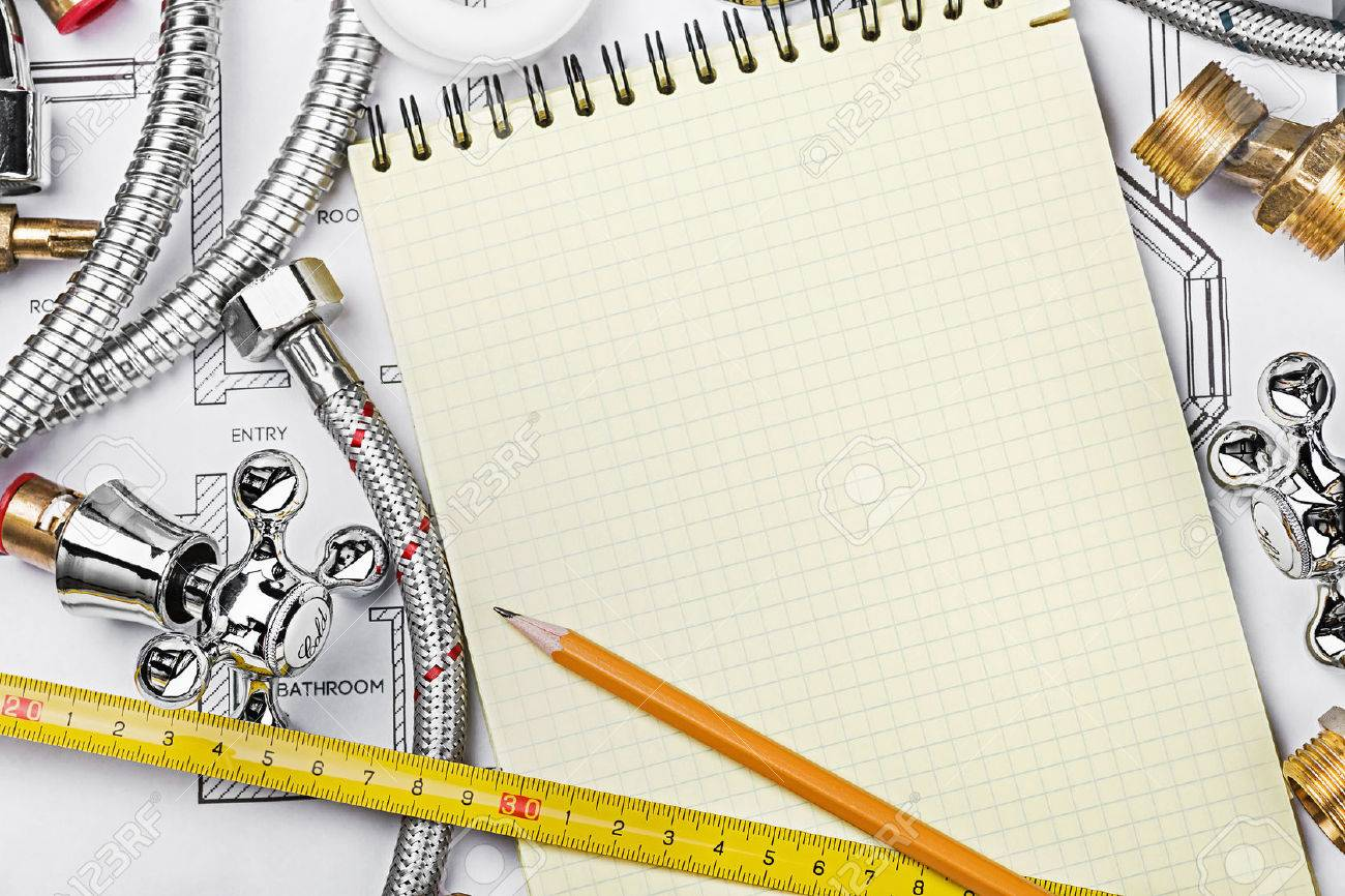 plumbing and tools with a notebook to write text - 37663123