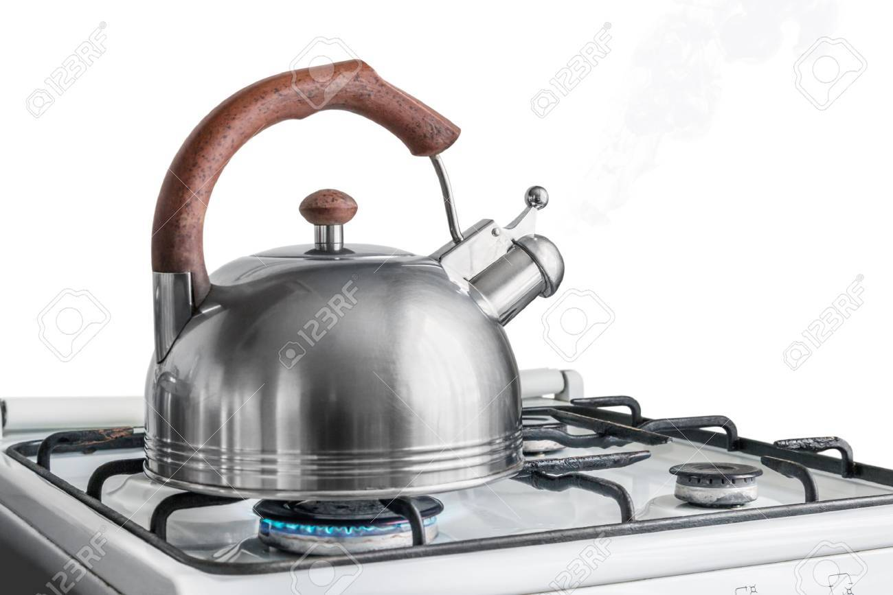 kettle boiling on a gas stove. Focus on a spout - 43166980