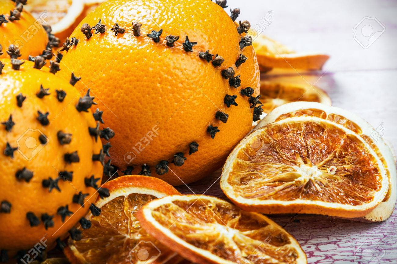 Dried Sliced Oranges And Oranges With Cloves. Christmas Decorations ...