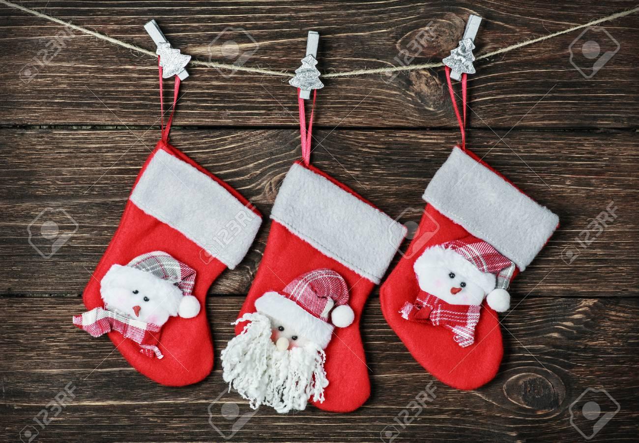 Christmas Socks Hanging On The Wall