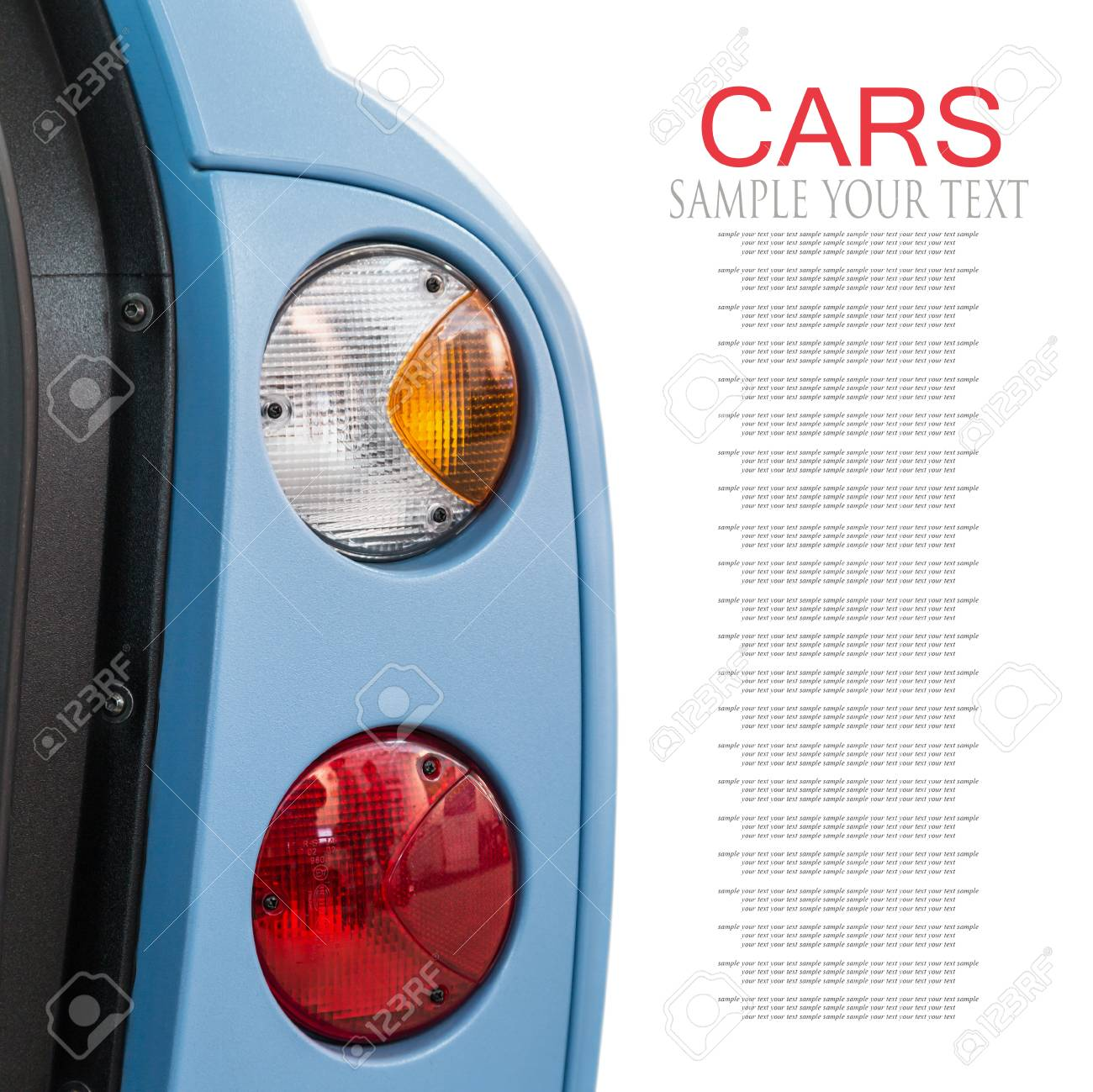 taillights cars with open doors isolated on white background