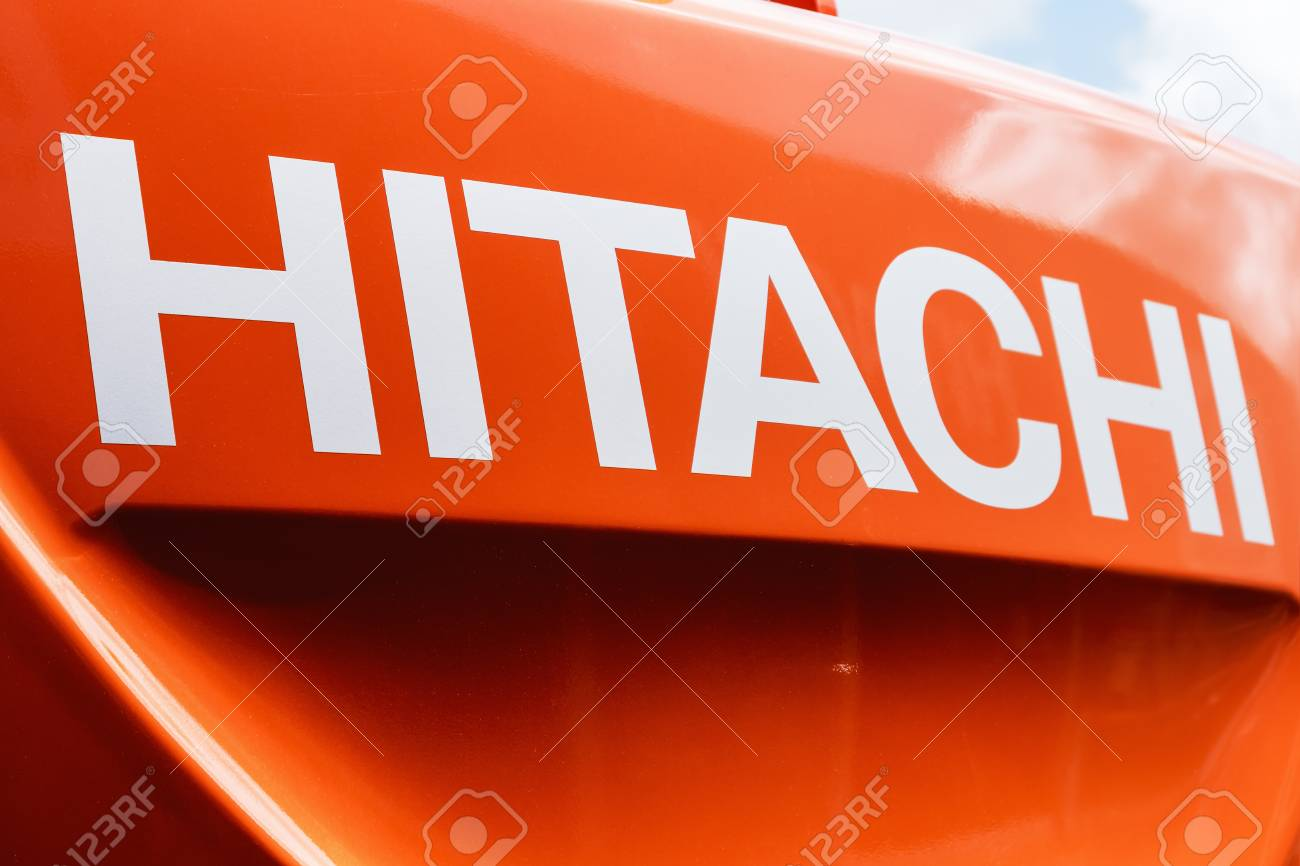 Moscow, Russia - may 30, 2017: group name Hitachi on the front