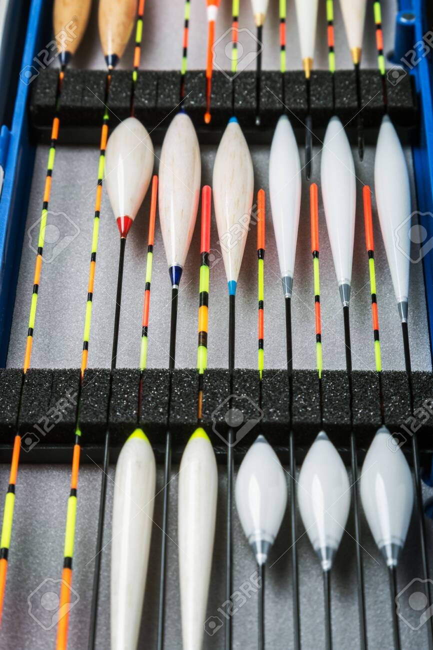 many different fishing floats in the box. fishing tackle and accessories for catching Herabuna - 121917398