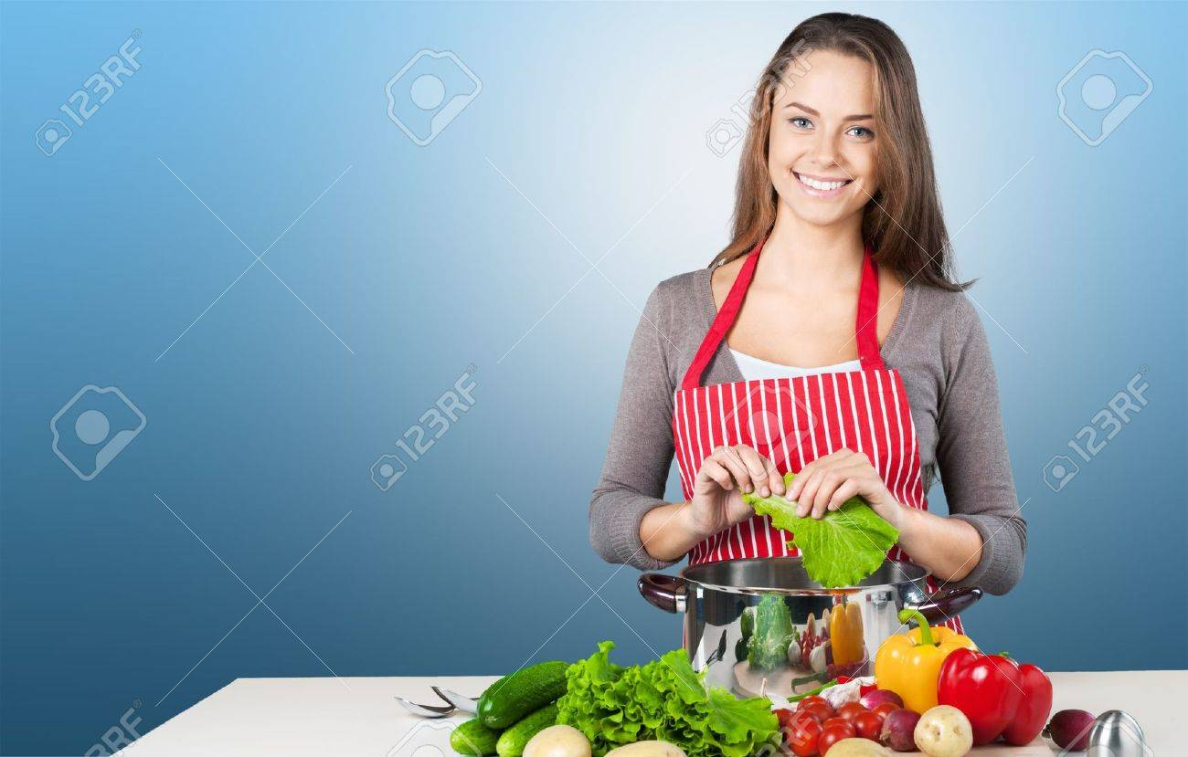Cooking, Women, Domestic Kitchen. Stock Photo, Picture And Royalty ...