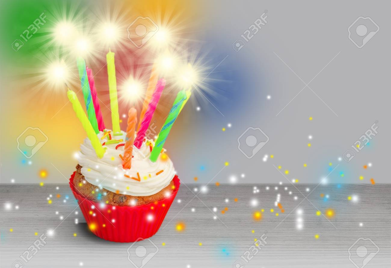 Birthday Cake Sparkler Stock Photo