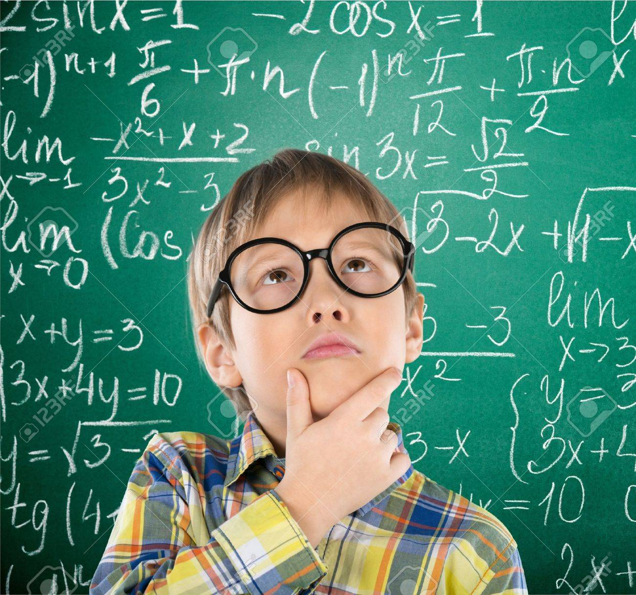 Kid, Think, Maths. Stock Photo, Picture And Royalty Free Image ...