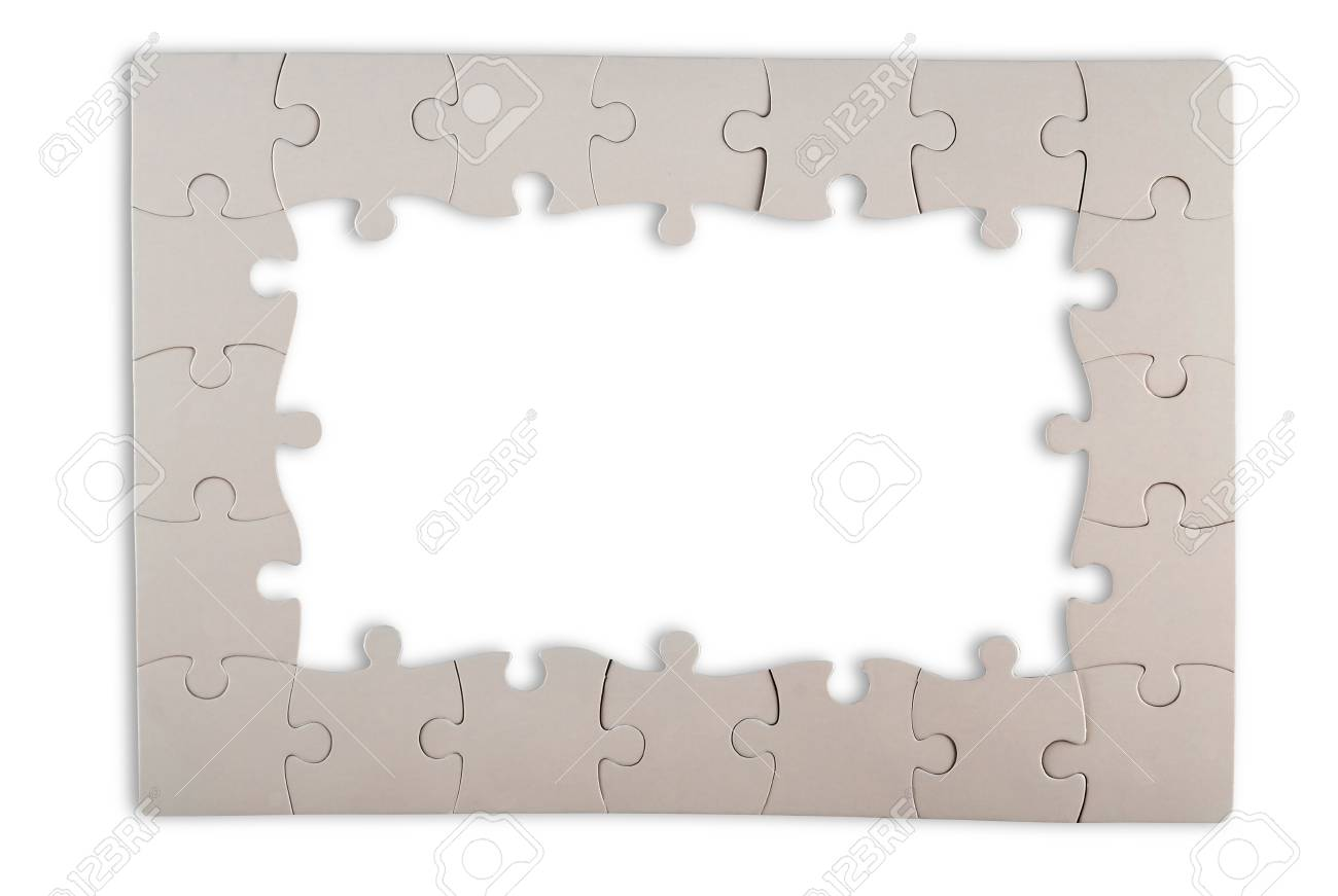 White Puzzle Frame Isolated On White Background Stock Photo, Picture ...