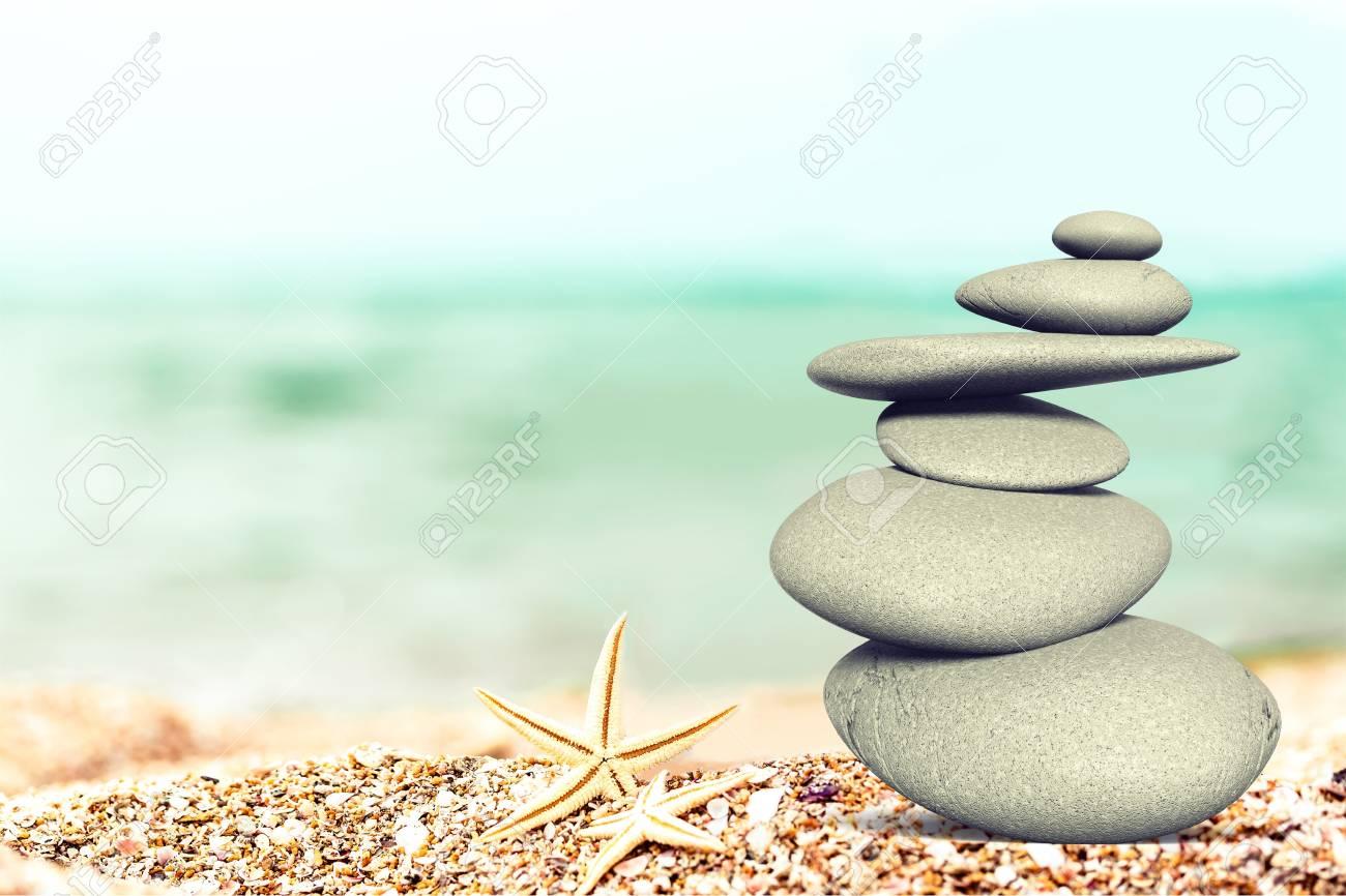 Zen Stones Zen Stone On Beach For Perfect Meditation Stock Photo