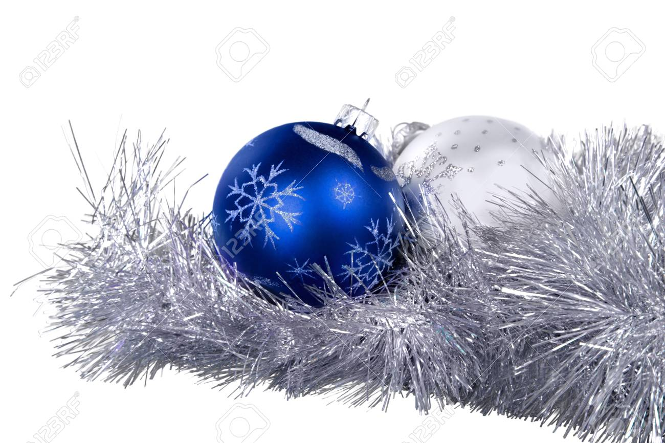 Blue And White Christmas Baubles On The Christmas Garland Isolated