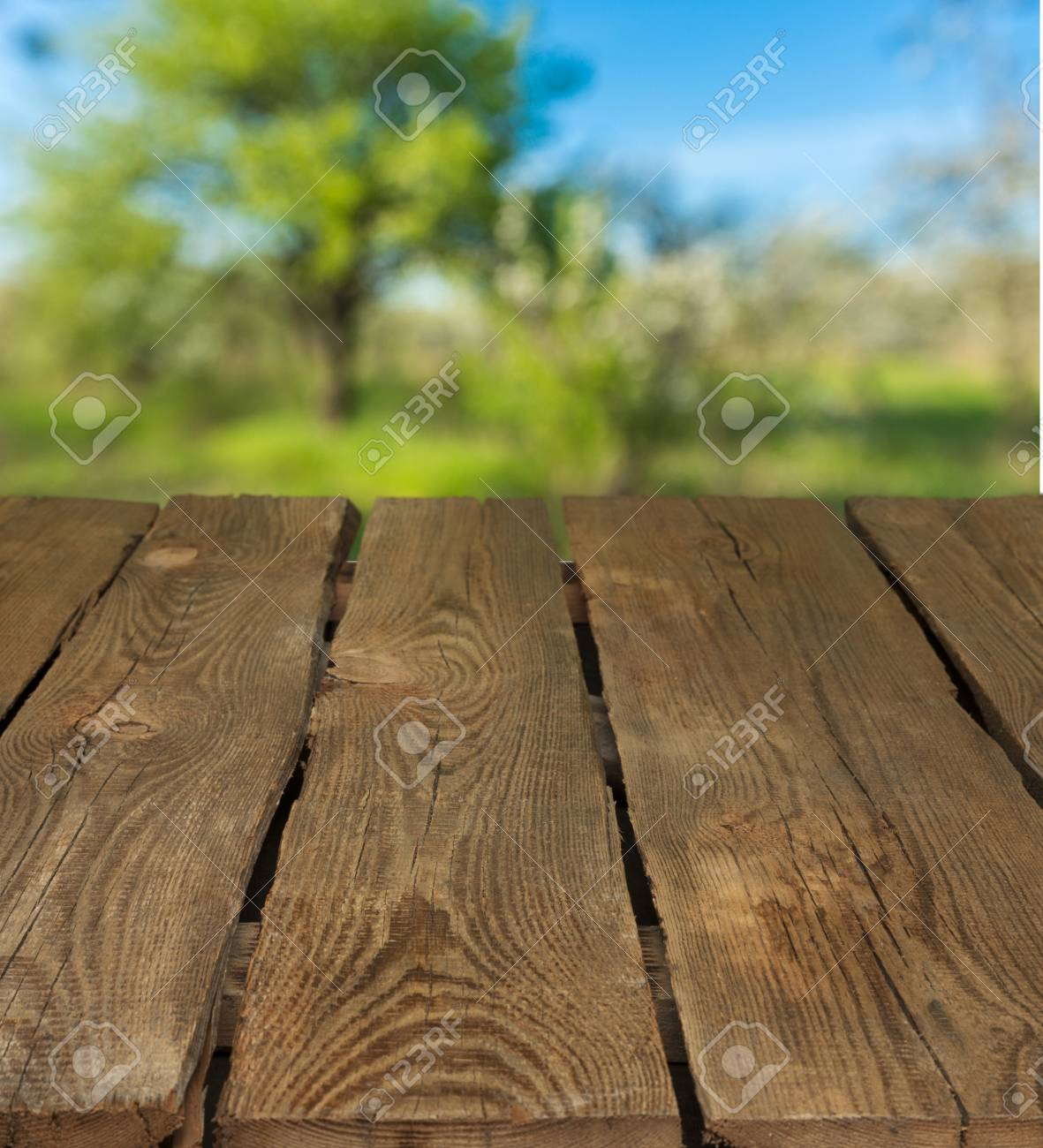 Empty Tropical Wood Table And Blurred Garden Cafe Light Background ...