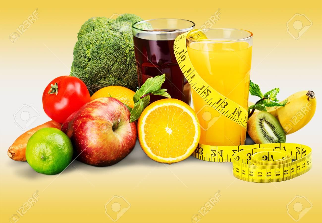 Diat Und Ernahrung Frisches Obst Gemuse Und Saft Lizenzfreie Fotos