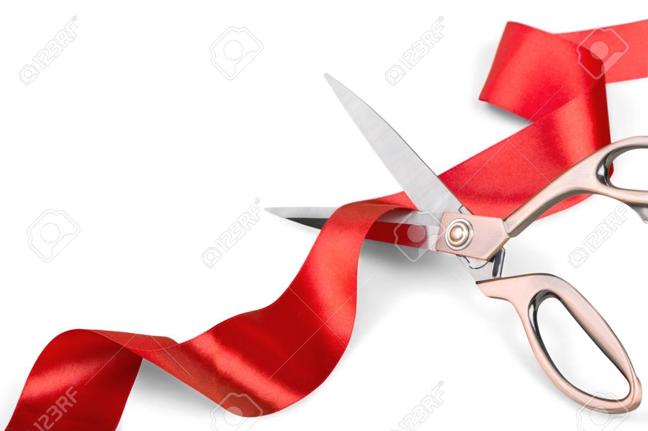 Scissors Cutting Red Ribbon - 93376495